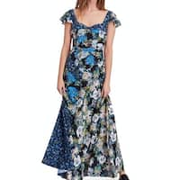 Free People Blue Women's Size 2 V-Neck Floral Print Maxi Dress