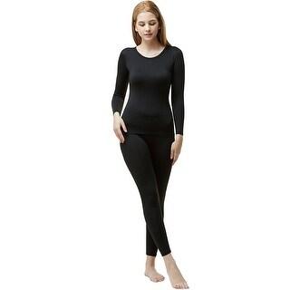Tesla Blank WHS200 Women's Microfiber Fleece Lined Top and Bottom Set - Black