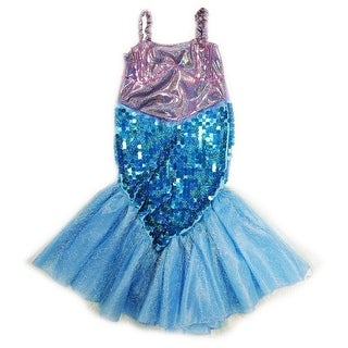 Wenchoice Girls Purple Blue Sequin Halloween Mermaid Dress