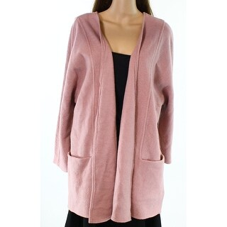 Alfani NEW Pink Women's Size Large L Open-Front Sweater Coat Wool