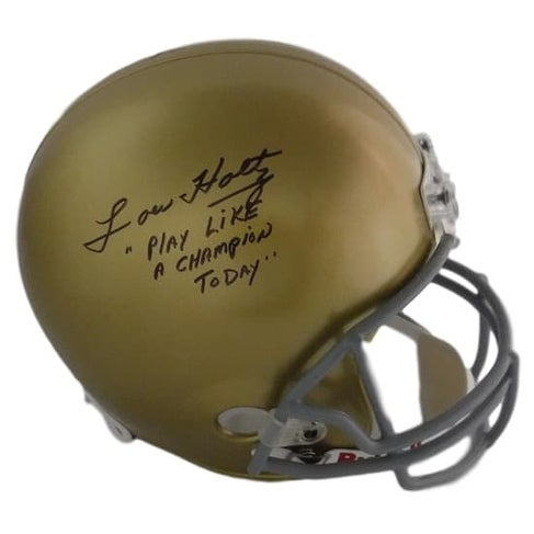 edc8b63f9e5 Shop Lou Holtz Autographed Notre Dame Full Size Replica Helmet Play Like  Champion JSA - Free Shipping Today - Overstock - 17968005