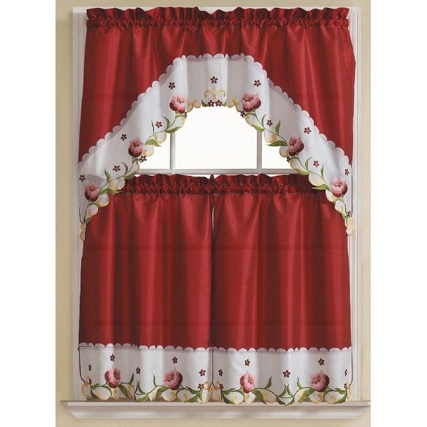 3 Piece Kitchen Window Curtain Set With Flower Embroidered: Shop Leela-3 Piece Embroidered Kitchen Curtain Set