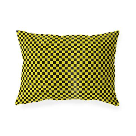 CHECKER BOARD YELLOW & BLACK Indoor Outdoor Lumbar Pillow by Kavka Designs - 20X14