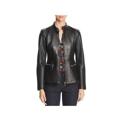 Elie Tahari Womens Leather Jacket Dressy Fall - Black - 2
