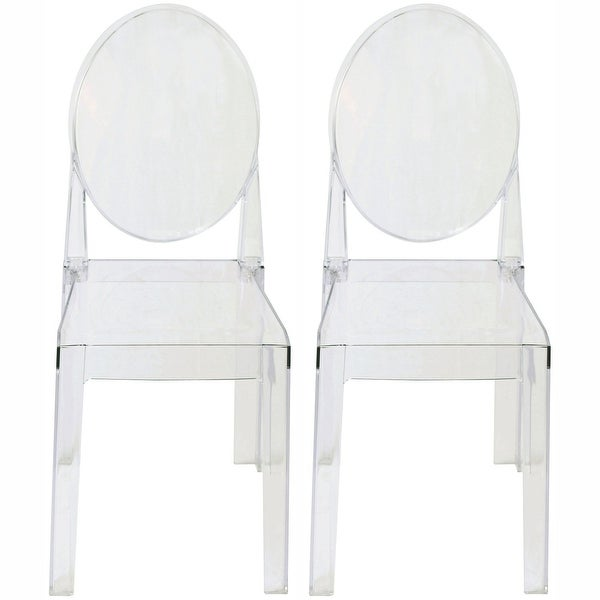 2xhome - Set of Two (2) - LARGE Size - Clear Victorian Ghost Style Armless Side Chair