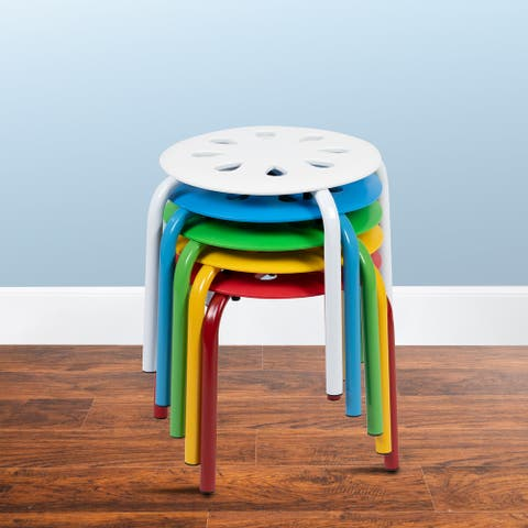 """Plastic Nesting Stack Stools - Classroom/Home, 11.5""""Height (5 Pack)"""