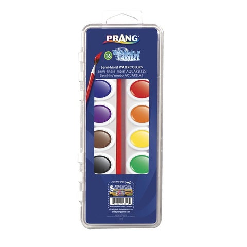 Prang Semi-Moist Watercolor Paint Set, Plastic Pan, Assorted Color, 16 Ovals