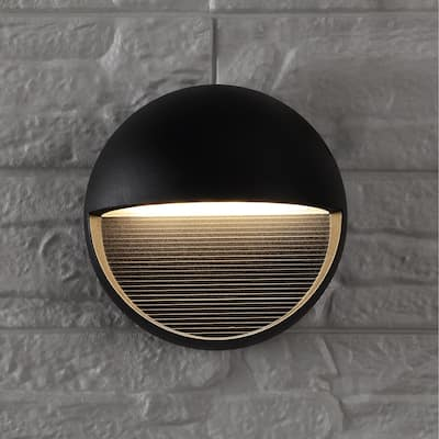 """Orbe 6.25"""" Outdoor Metal/Glass Integrated LED Sconce by JONATHAN Y"""