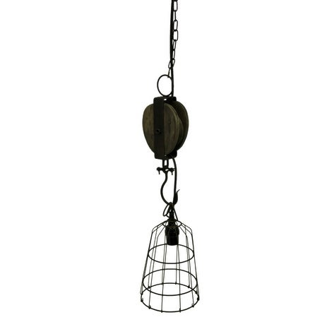 Faux Aged Vintage Industrial Wood and Metal Pulley Wire Cage Pendant ...