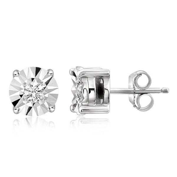 JewelonFire Sterling Silver 1/10 Ctw Genuine White Diamond Stud Earrings. Opens flyout.