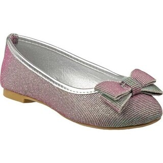 Laura Ashley Girls' LA80273M Ballerina Flat Silver Metallic