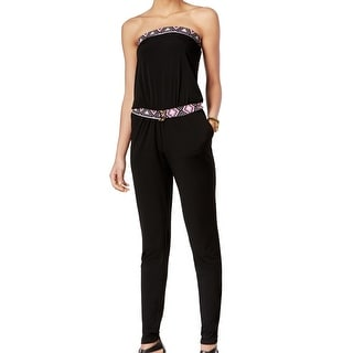 Michael Kors NEW Black Pink Printed Womens XL Belted Strapless Jumpsuit
