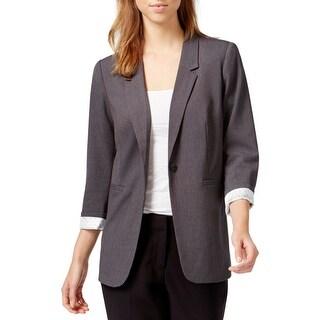 Kensie Womens One-Button Blazer Heathered Notched Collar