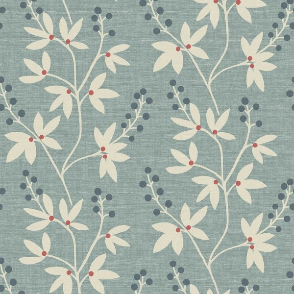 Brewster 2535-20614 Currant Blue Botanical Trail Wallpaper - N/A