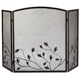 Panacea 15914 Oak Leaf Design 3-Panel Fireplace Screen, Colonial Brown