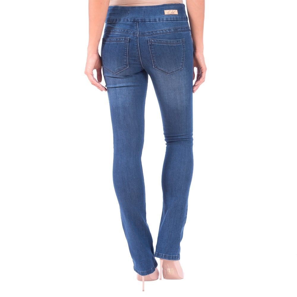 DISCONTINUED Lola Pull On Bootcut Jeans, Leah-MB - Thumbnail 1