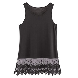 "Women's Lace Trim Tunic Extender - Tank Crop Top Bottom Hem - 30"" Long (More options available)"