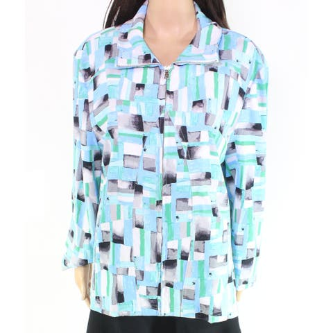 Erin London Women's Jacket Blue Size 1X Plus Colorblock Full-Zip
