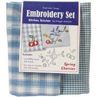 "20""X28"" - Spring Cherries Kitchen Stitches Embroidery Set"