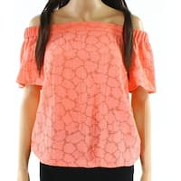 1. State Coral Orange Womens Size Medium M Off-Shoulder Blouse