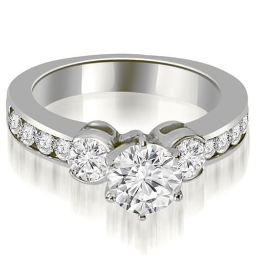 1.65 cttw. 14K White Gold Bezel Set Round Cut Diamond Engagement Ring