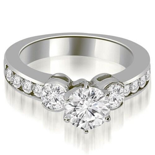 1.90 cttw. 14K White Gold Bezel Set Round Cut Diamond Engagement Ring