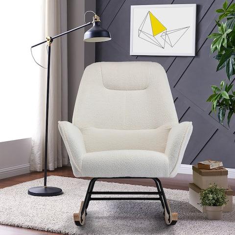 Velvet Upholstered Rocking Chair With Wood Base