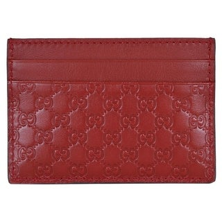 "Gucci 476010 Red Leather Micro GG Guccissima Small Card Case - 4"" x 2.75"""