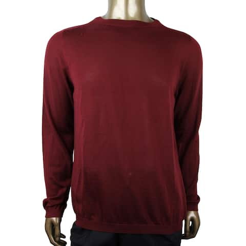 Gucci Men's Wine Red GG Emblem With Cashmere Pullover Sweater 369065 6215