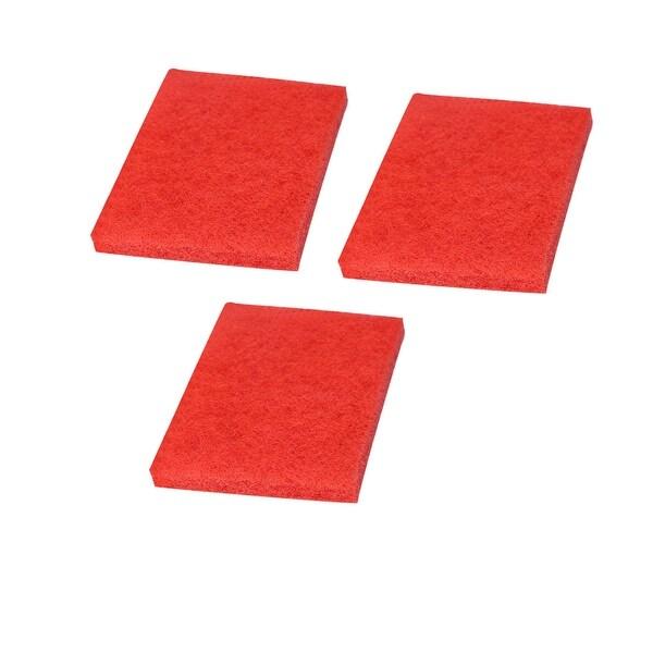 "3pcs Scouring Pad Non-Scratch Scouring Sponge 6""x4"" Scrub Pads Red - Red/3pcs - 15x10x2cm"
