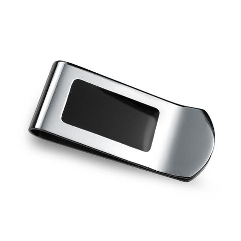 Two Tone Black Enamel Inlay Engravable Money Clip For Men Credit Card Holder Gift For Father Silver Tone Stainless Steel