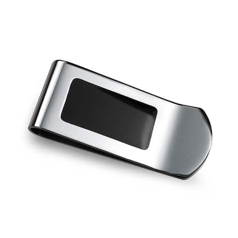 Two Tone Black Enamel Engravable Money Clip Credit Card Holder Steel