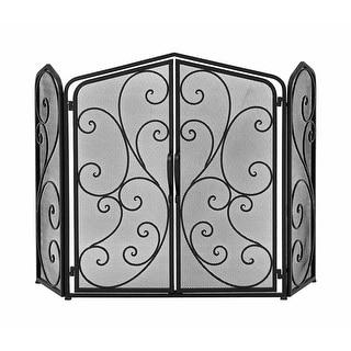 Black Metal Elegant Scroll 3 Panel Fire Screen w/Doors