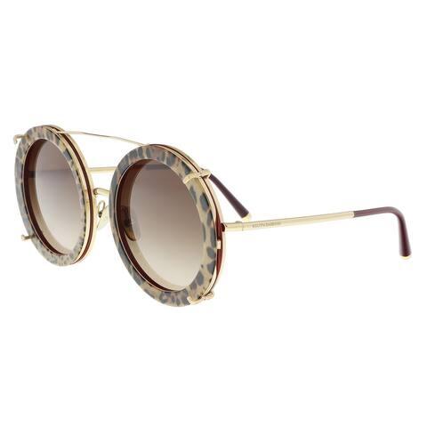 Dolce & Gabbana DG2198 131813 Gold/bordeaux leo Round Sunglasses-Sample/Final Sale - 63-17-140