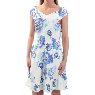 Womens Ivory Blue Floral Cap Sleeve Above The Knee Fit + Flare Evening Dress Size: 2