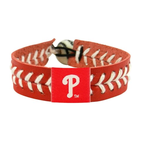 MLB Philadelphia Phillies Sports Team Logo Team Color Leather Baseball Bracelet