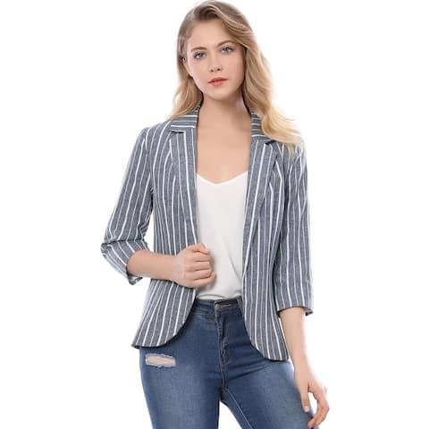 Women Striped 3/4 Sleeves Open Front Notched Lapel Blazer