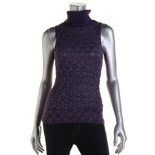 Catherine Malandrino Womens Baby Alpaca Metallic Turtleneck Sweater - S