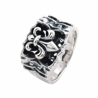 Inox Sterling Silver Fleur De Lis Ring. Available Sizes: 12.