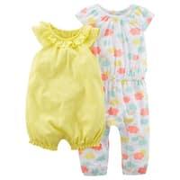 Carter's Baby Girls' 2 Piece Romper Jumpsuit Combo - multi/yellow