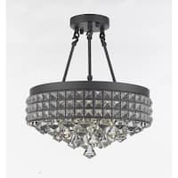 Semi Flush Mount French Empire Crystal Chandelier Crystal Iron Metal Shade