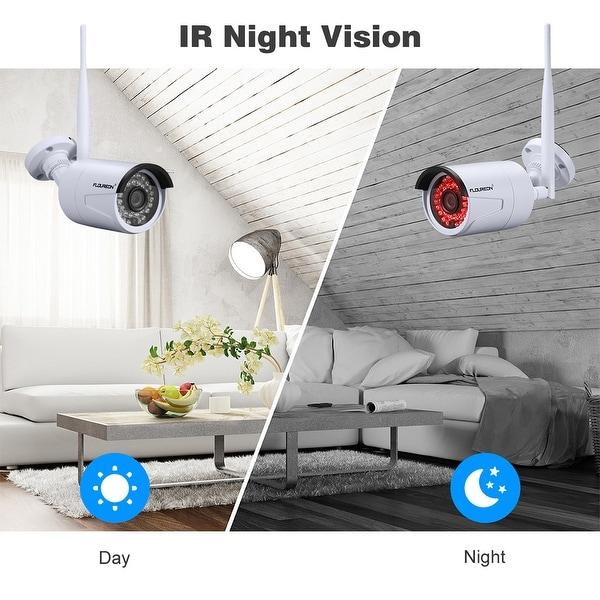 4CH Wireless CCTV 1080P DVR Kit Outdoor Wifi WLAN 720P Night Vision IP Camera