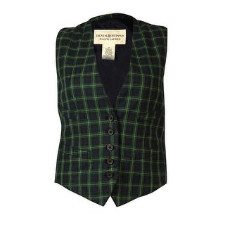 Denim & Supply Women's Five-Button Plaid Vest - navy combo