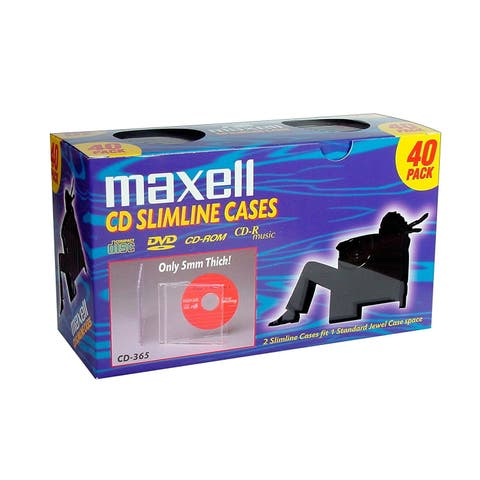 Maxell 190074 Maxell CD-365 Slimline Jewel Cases - Jewel Case - Book Fold - Clear