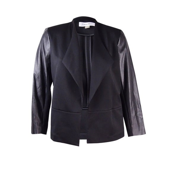 ad1ae0f7eca Shop Calvin Klein Women's Plus Size Scuba Faux Leather Jacket - Black - Free  Shipping On Orders Over $45 - Overstock - 17117248