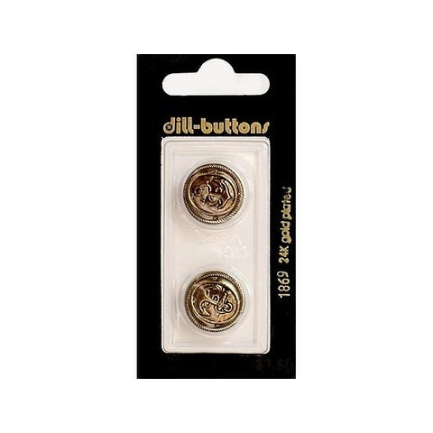 Dill Buttons 18mm 2pc Shank Antique Gold