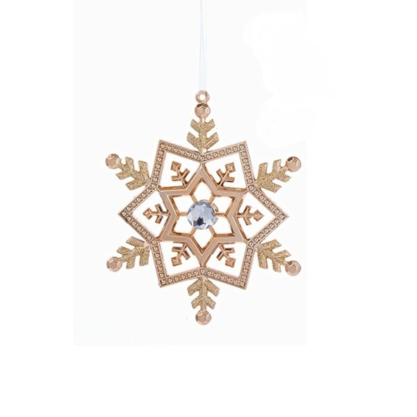 "5"" Rich Elegance Rose Gold Snowflake with Clear Gem Christmas Ornament"
