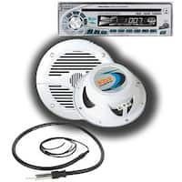 Marine CD Receiver (Silver) Package w/5.25-in White 2-Way Marine Speakers & Antenna
