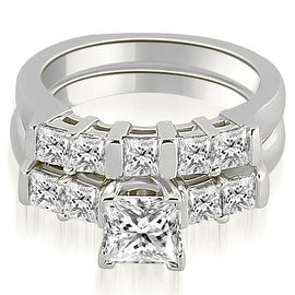1.50 cttw. 14K White Gold Princess Cut Diamond Engagement Bridal Set