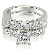 1.75 ct.tw 14K White Gold Princess Cut Bar-Set Diamond Engagement Bridal Set HI, SI1-2